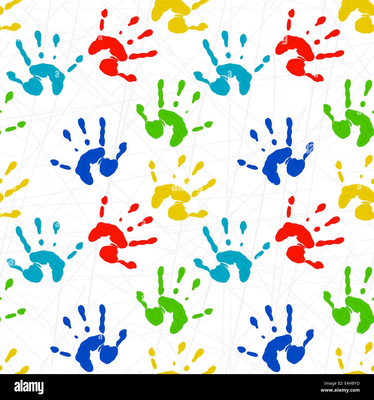 6346fed712 Seamless texture con stampe colorate di bambini con le mani in mano ...