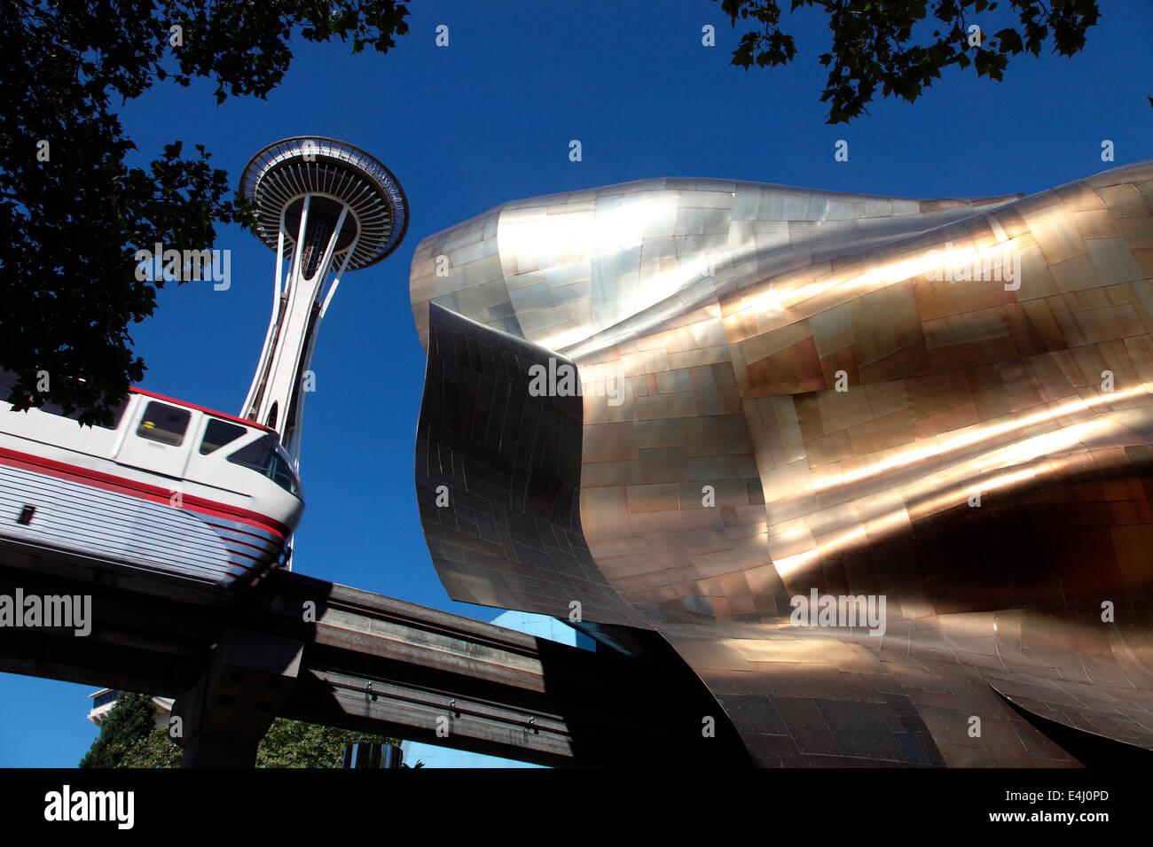 Lo Space Needle, il Mono Rail e il processore EMP Museo progettato da Frank Gehry Immagini Stock