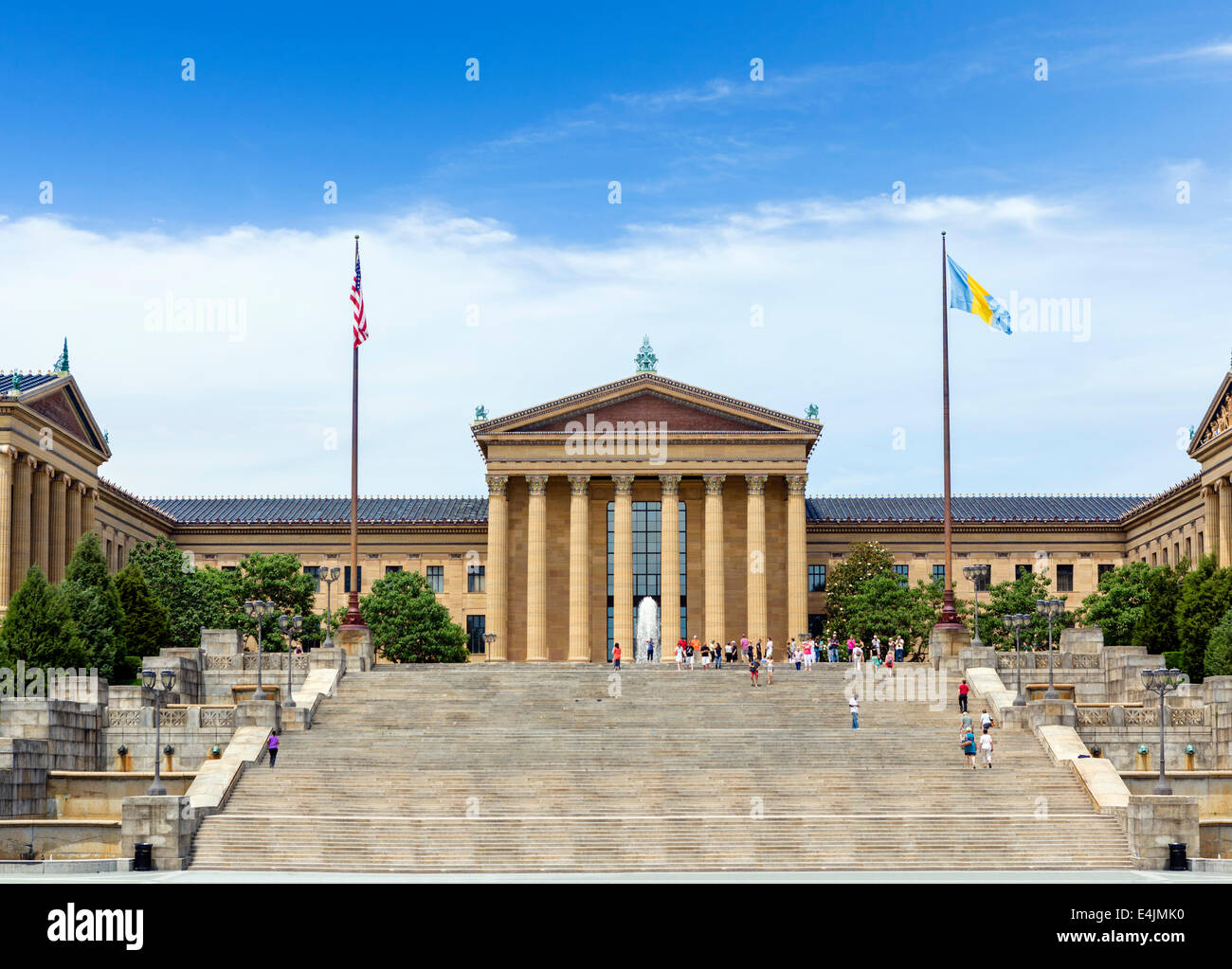 "Il Philadelphia Museum of Art con la famosa ""Rocky"" passi, Fairmount Park, Philadelphia, Pennsylvania, Immagini Stock"