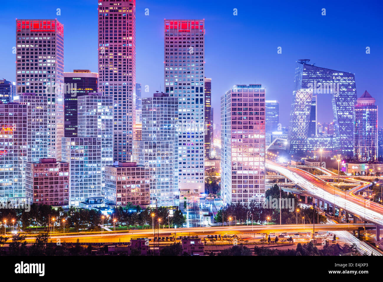 Pechino, Cina skyline al quartiere centrale degli affari. Immagini Stock