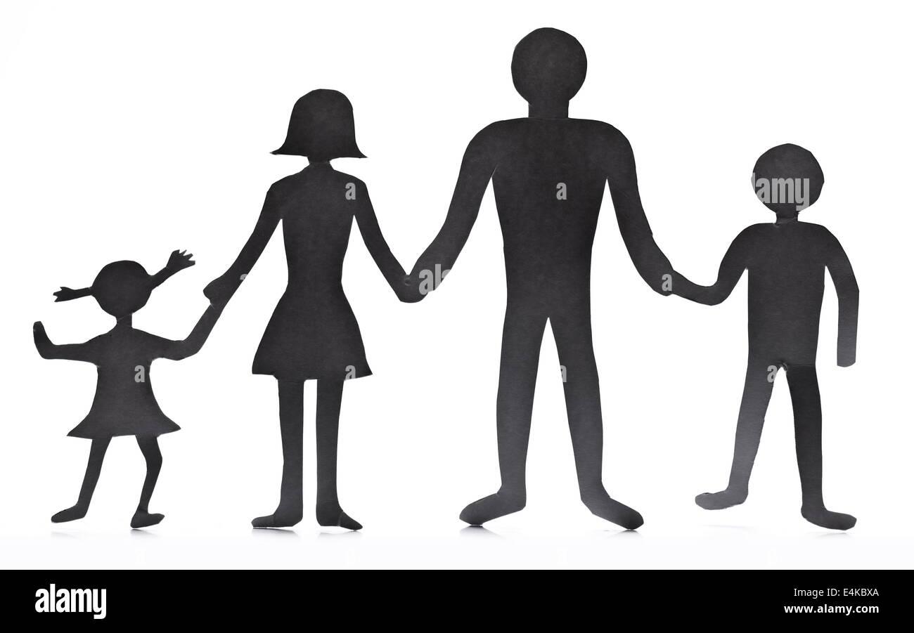 Figure Di Cartone Della Famiglia Su Uno Sfondo Bianco Il Simbolo Di