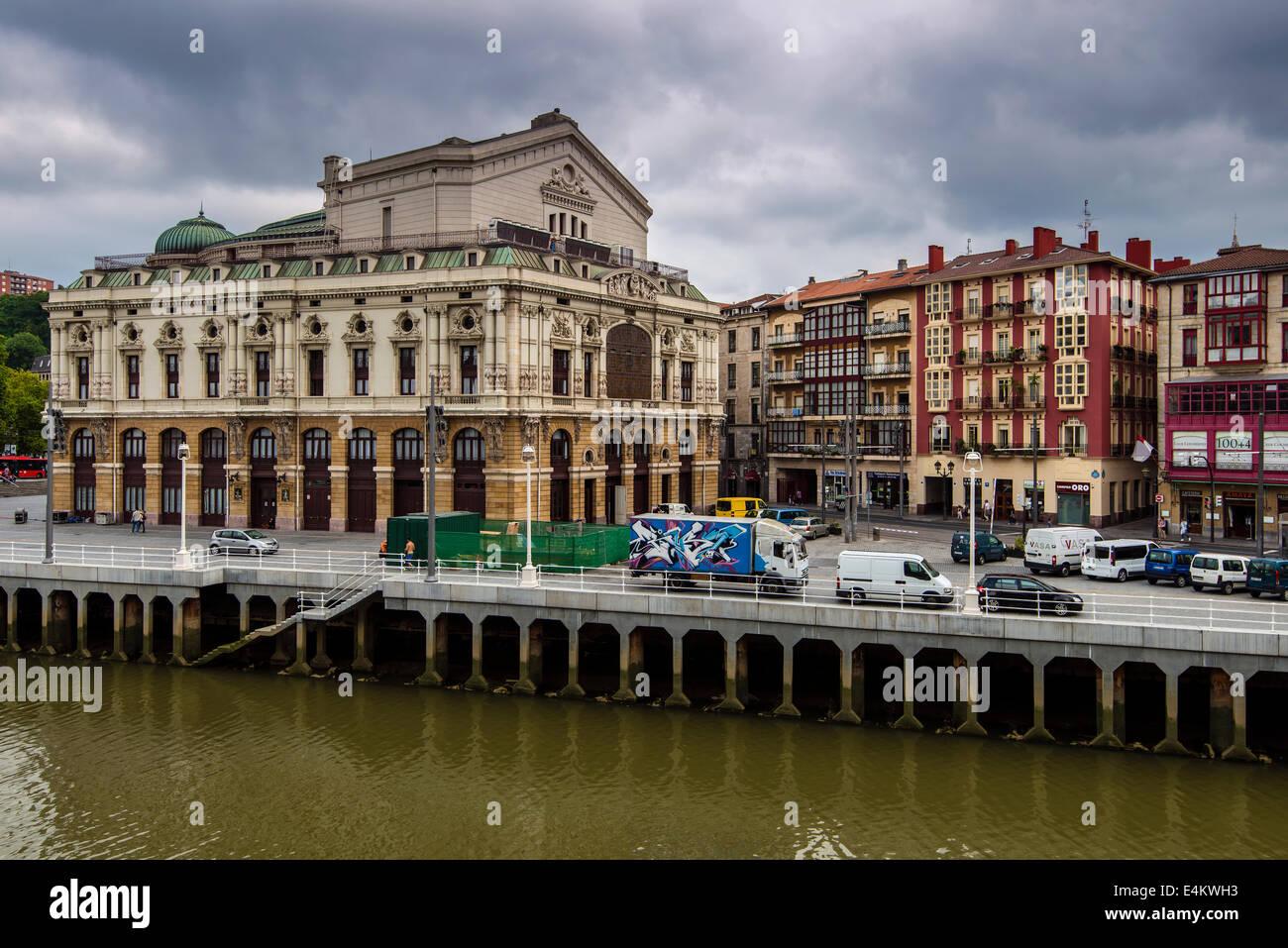 Teatro Arriaga opera house, Casco Viejo distretto, Bilbao, Paesi Baschi Immagini Stock