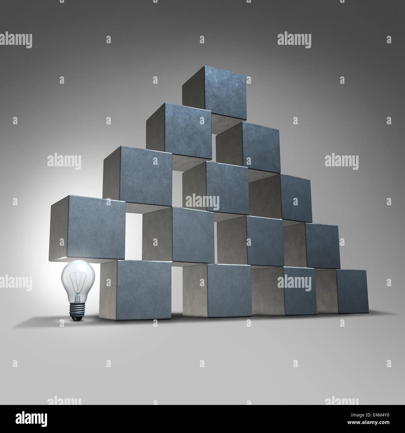 Supporto dei Creative e business marketing concetto di partenariato come un gruppo di tre cubi dimensionale essendo Immagini Stock