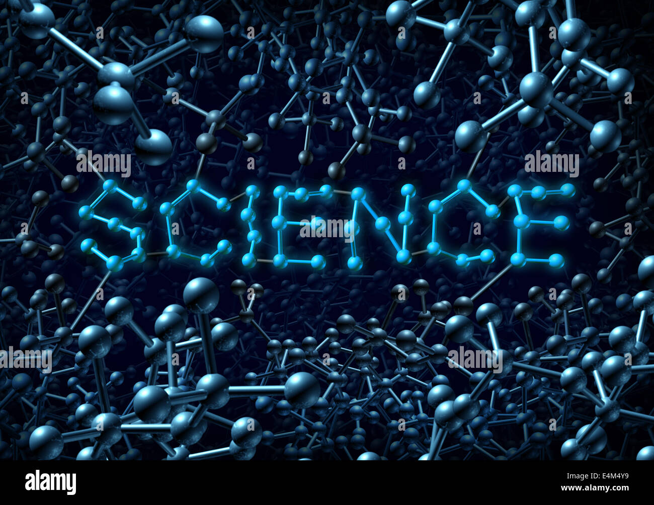 Il concetto di scienza e chimica simbolo come una molecola un gruppo di tre atomi di dimensionale conformato come Immagini Stock