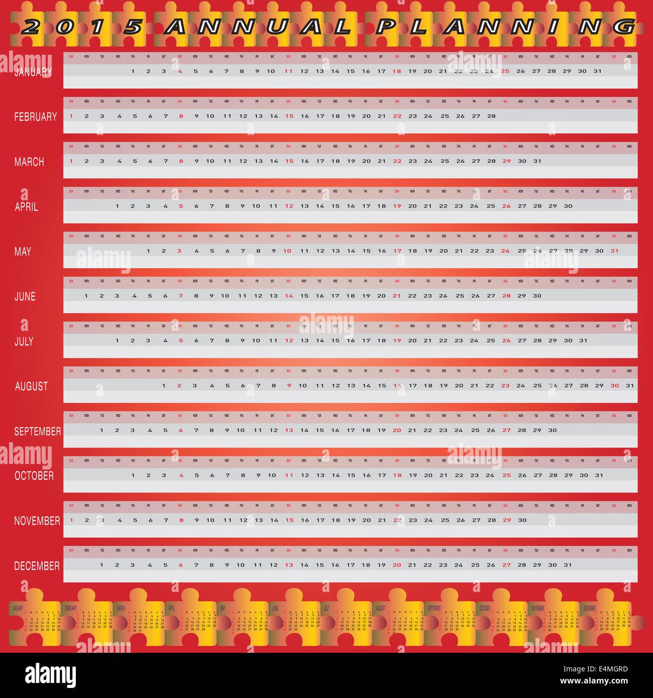 Calendario Anno 2015.Il Vettore Di Anno 2015 Calendario Annuale Di Pianificazione
