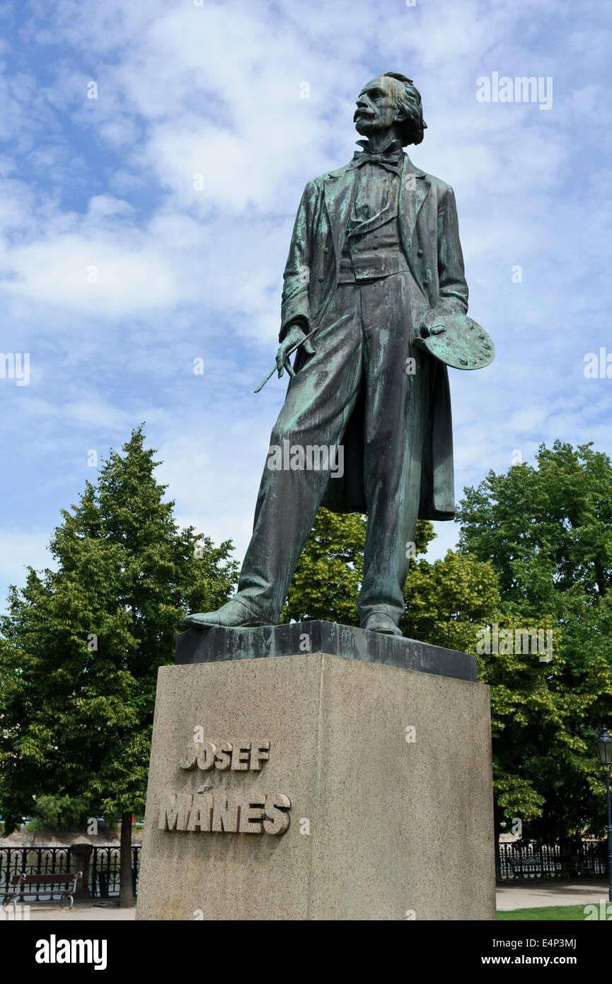 Statua di Josef Manes, pittore eletto nel giardino presso la sala concerti Rudolfinum, Praga, Repubblica Ceca. Foto Stock
