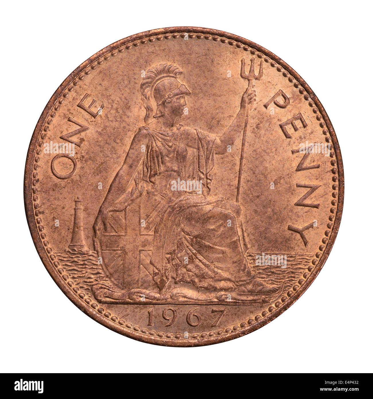 1967 British un penny coin Immagini Stock