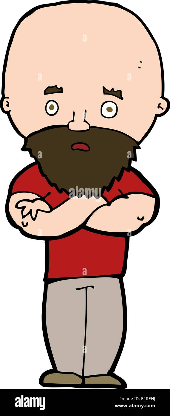 Cartoon scioccato uomo calvo con la barba illustrazione vettoriale