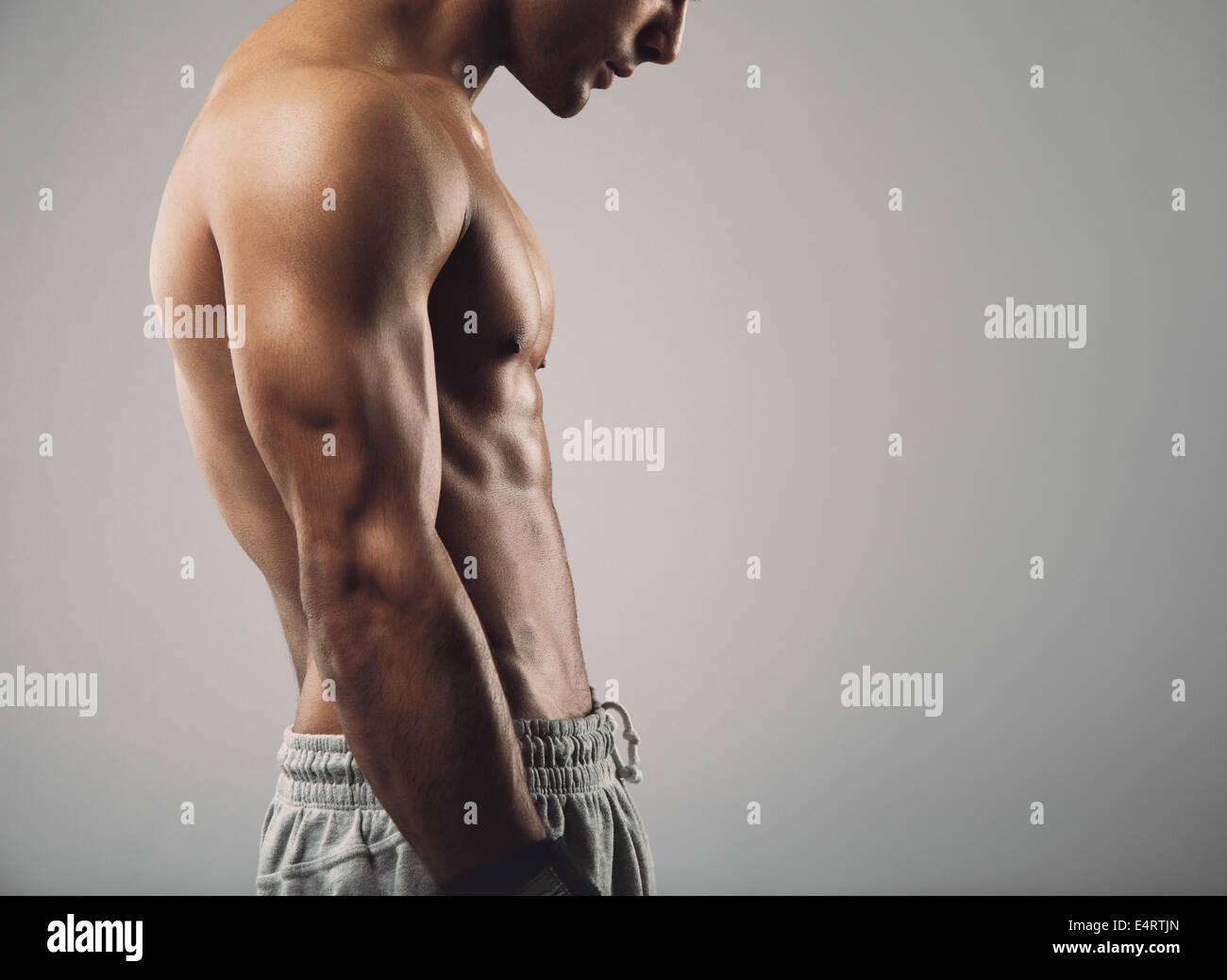 Immagine ritagliata della muscolatura giovane uomo torso su sfondo grigio con copia spazio. Immagini Stock
