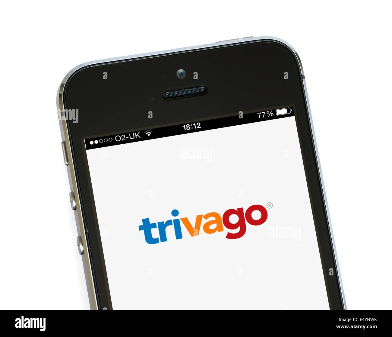 Trivago app, l'hotel strumento di confronto dei prezzi su un Apple iPhone 5S, REGNO UNITO Immagini Stock