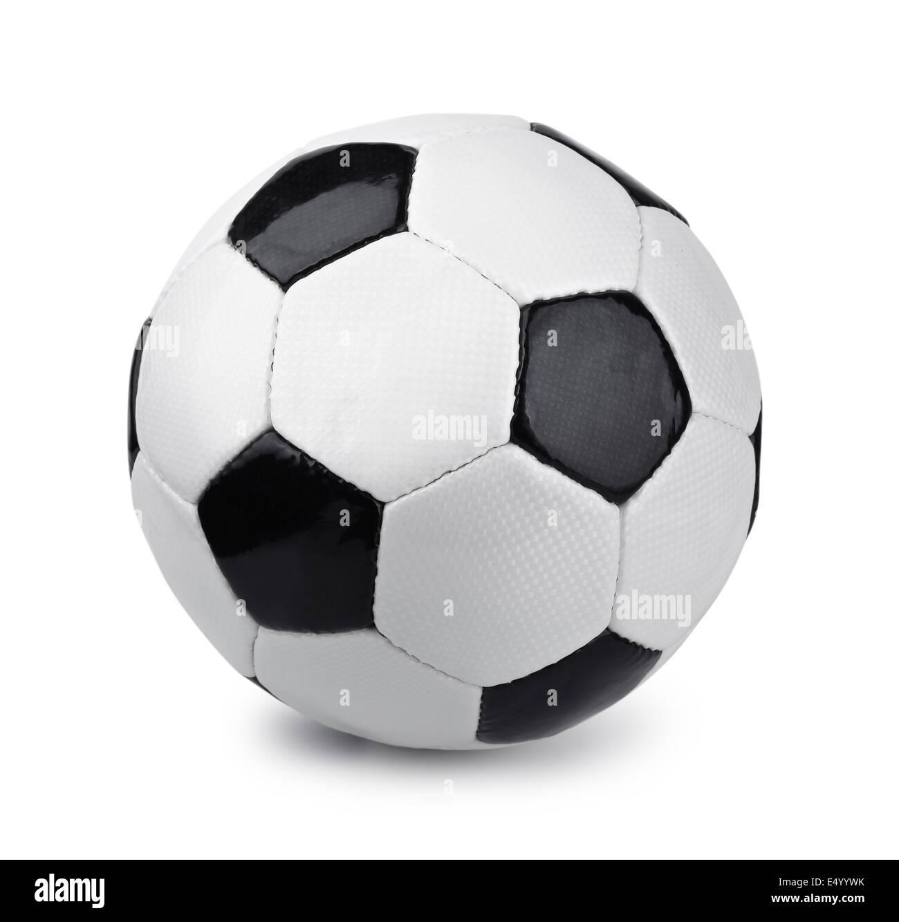 Classico Pallone da calcio isolato su bianco Foto Stock