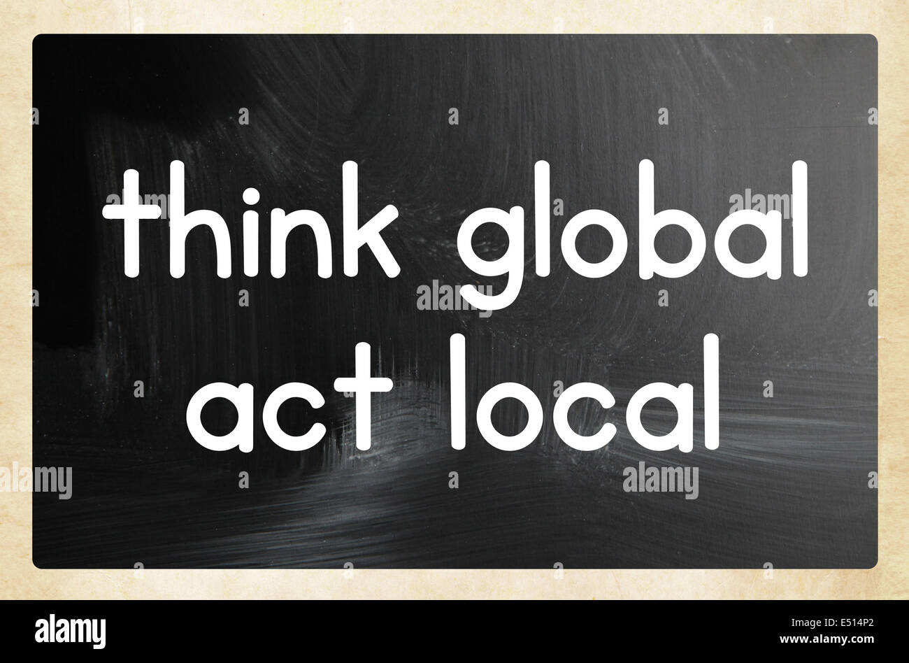 Think global act local concept Immagini Stock