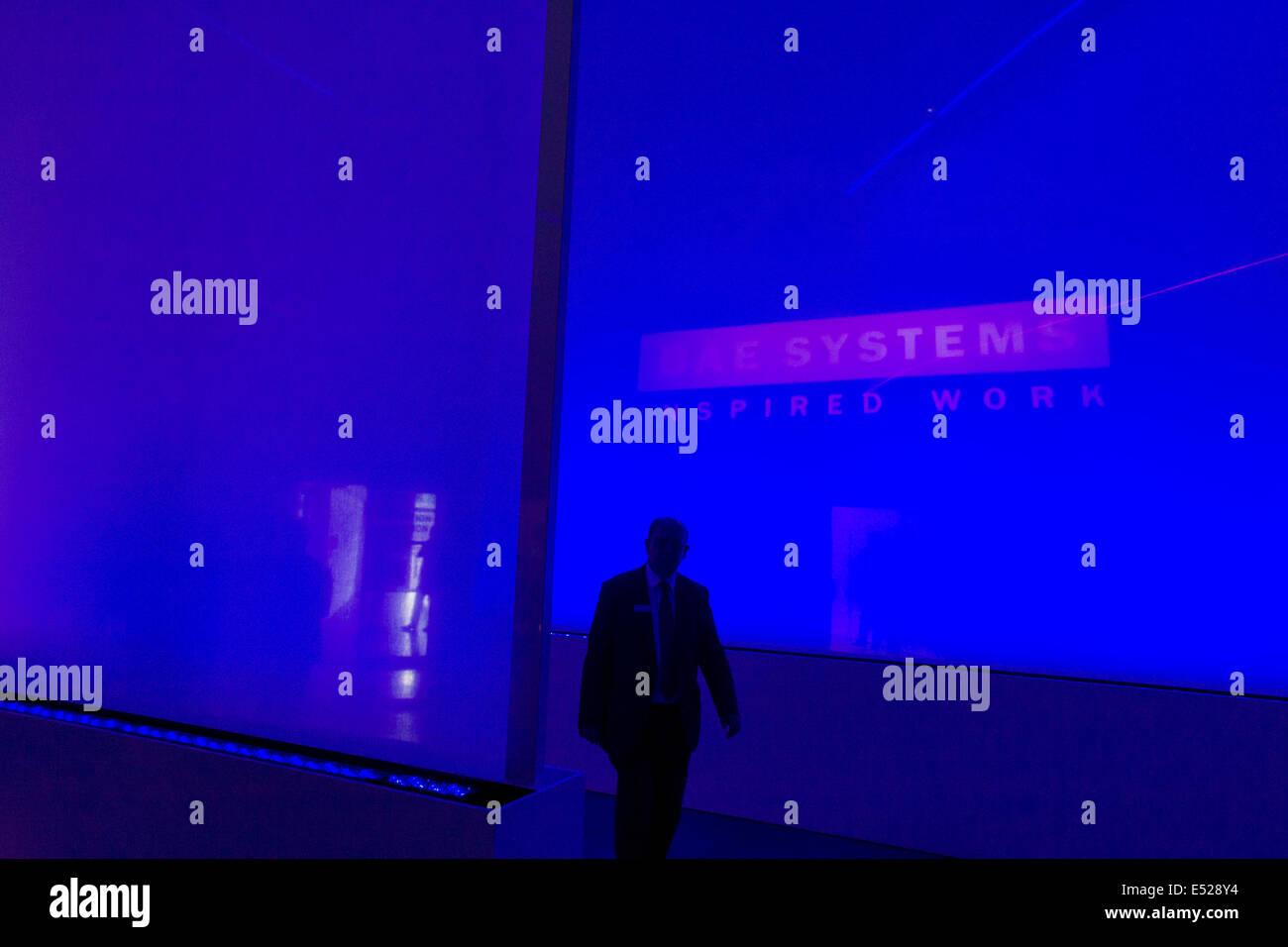 BAE Systems presentazione ospitalità chalet ingresso, esposto al Salone di Farnborough, Inghilterra. Immagini Stock