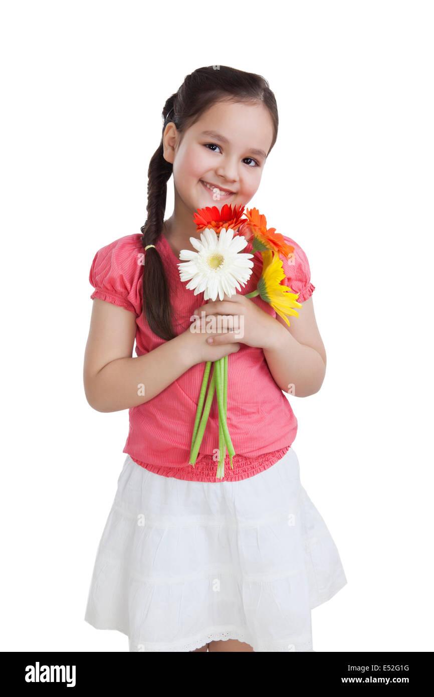 Piccola ragazza con fiori Immagini Stock