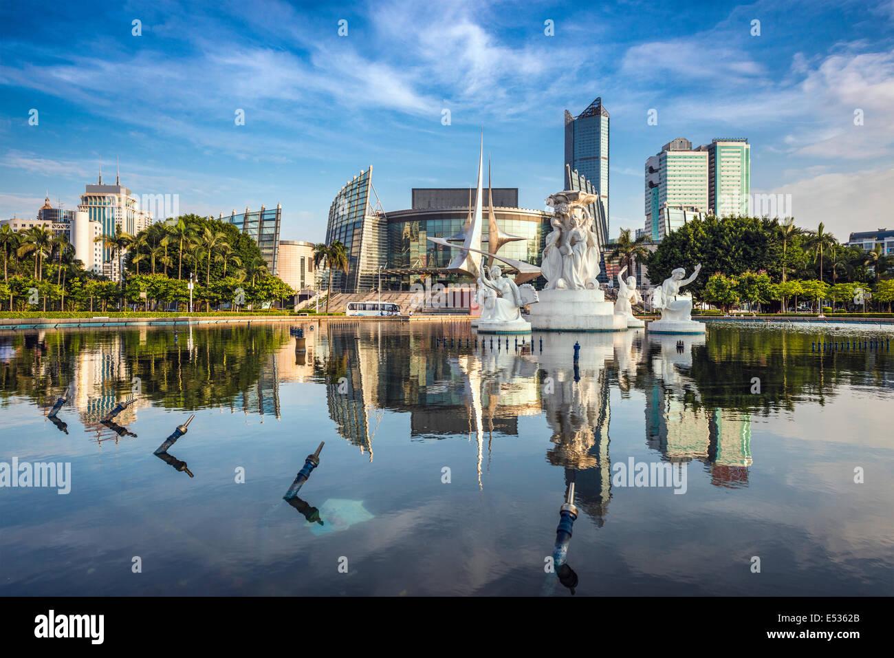 Fuzhou, Cina paesaggio urbano di Wuyi Piazza Fontana. Immagini Stock