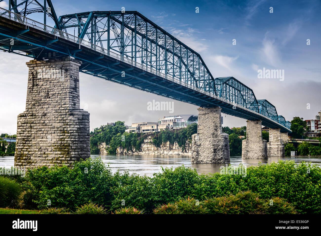 Chattanooga, Tennessee, Stati Uniti d'America al Parco di Coolidge e Walnut Street ponte pedonale. Immagini Stock