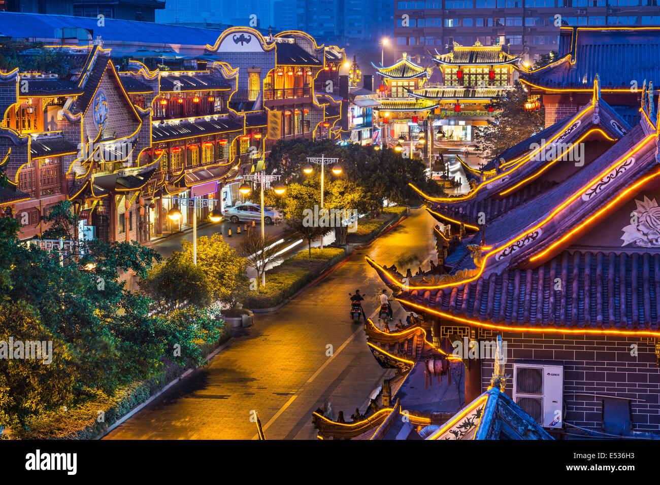 Chengdu, Cina al tradizionale strada Qintai distretto. Immagini Stock