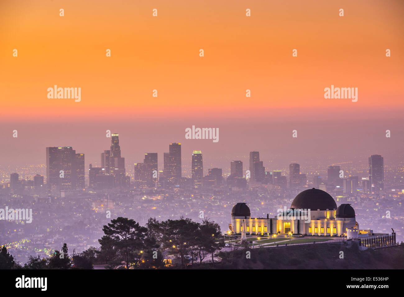 Los Angeles, California, Stati Uniti d'America skyline del centro Da Griffith Park. Immagini Stock