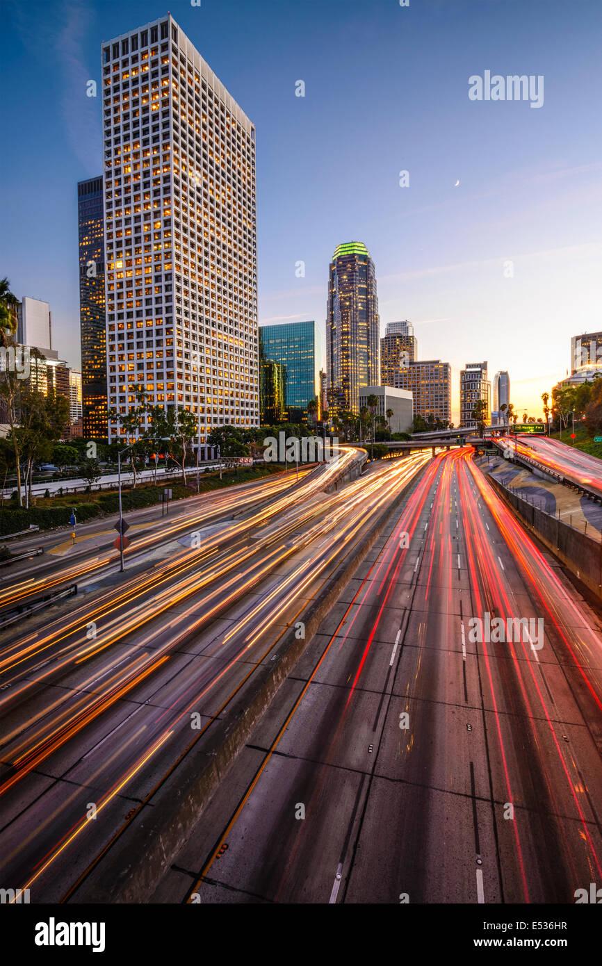 Los Angeles, California, Stati Uniti d'America skyline del centro al crepuscolo. Immagini Stock