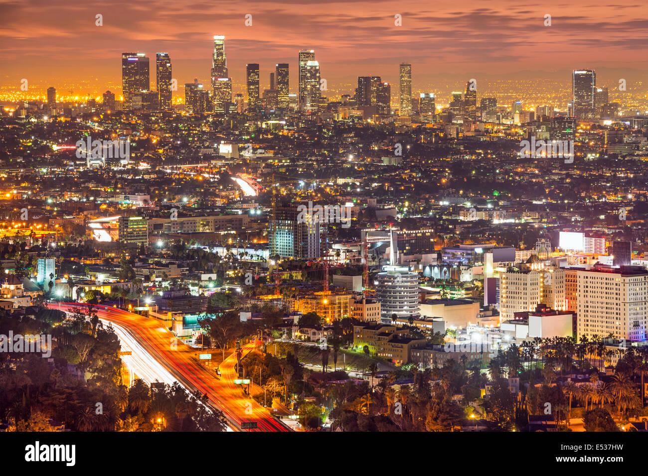Los Angeles, California, Stati Uniti d'America skyline del centro di notte. Immagini Stock