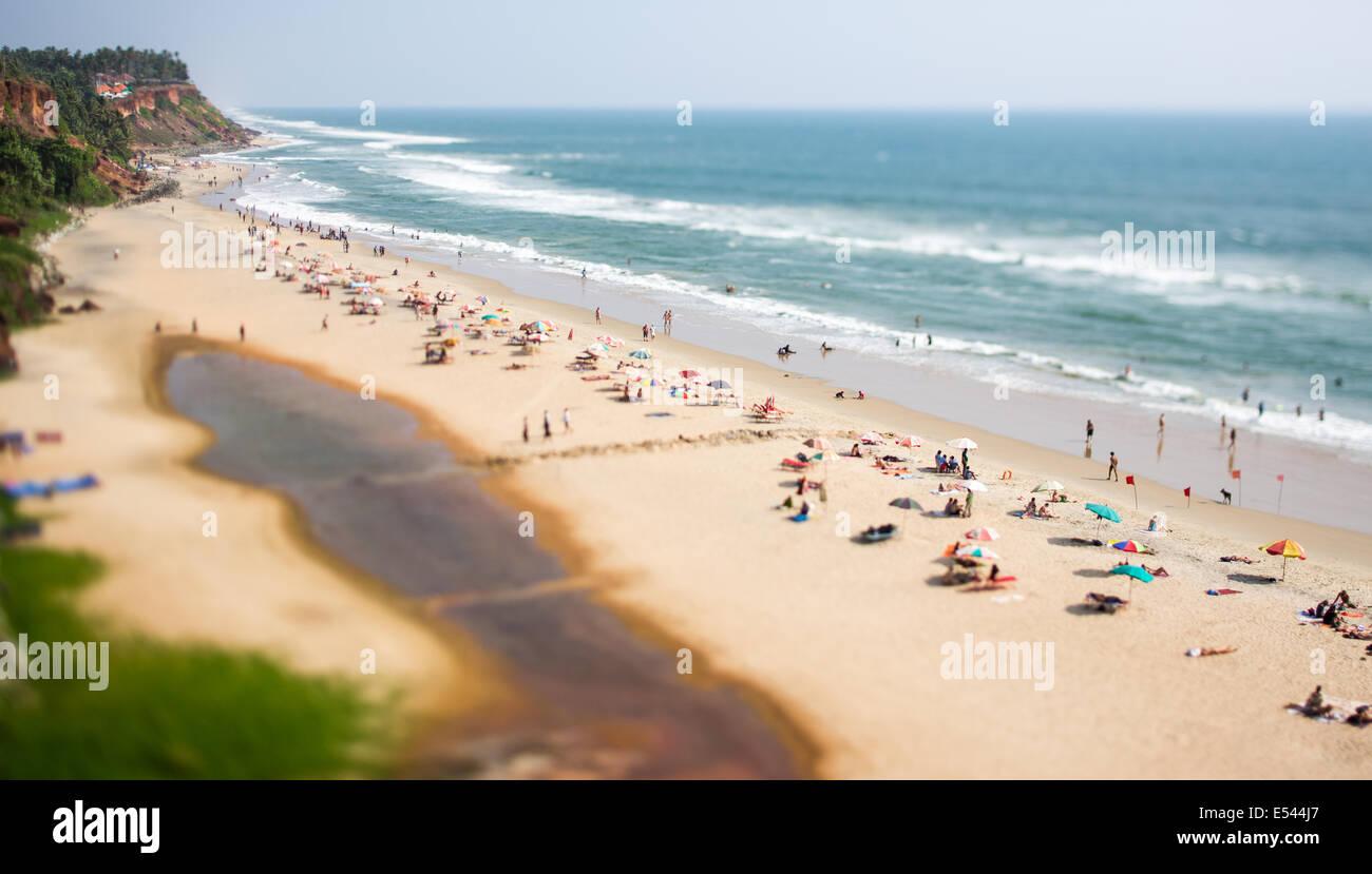 Il timelapse spiaggia dell'Oceano Indiano. India (tilt shift lente). Immagini Stock