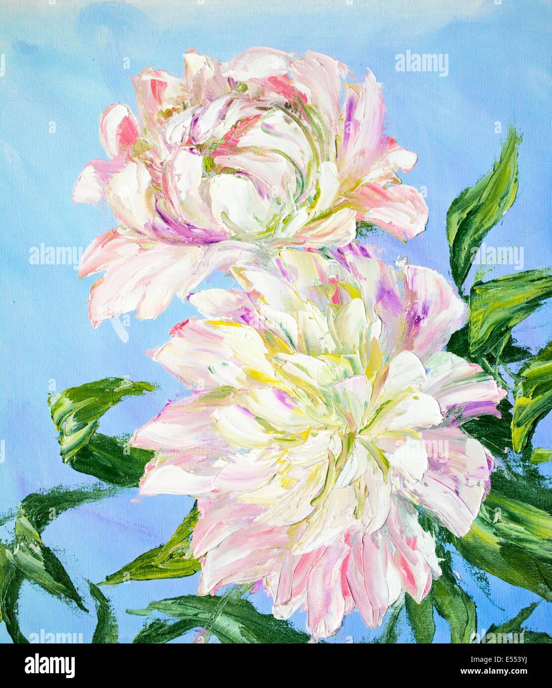 Le peonie, pittura ad olio su tela di canapa Immagini Stock