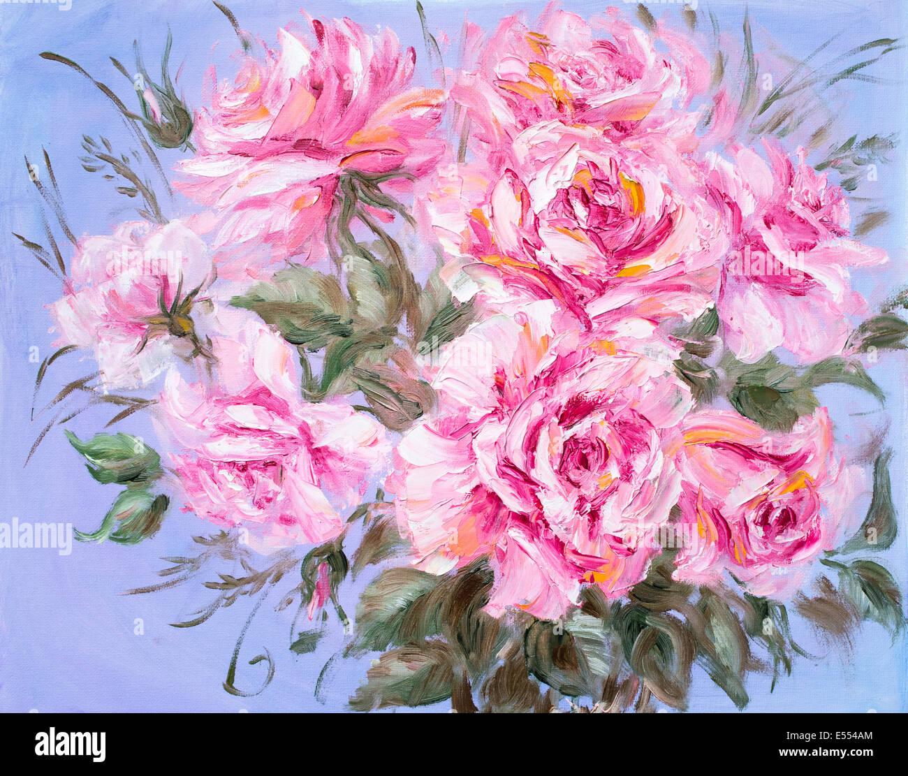 Bellissime Rose, pittura ad olio su tela di canapa Immagini Stock