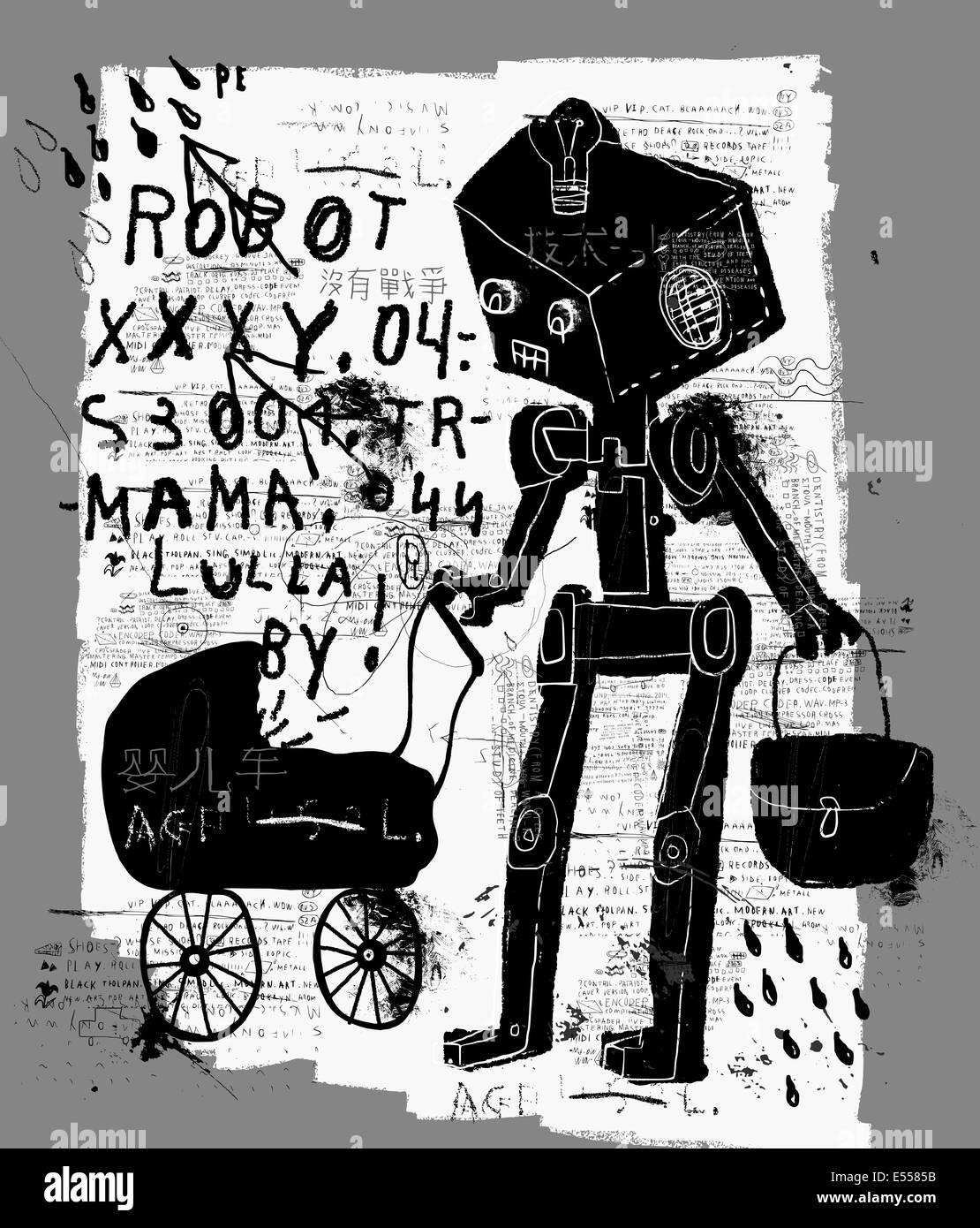 Immagine simbolica di un robot con un contenuto della PRAM Immagini Stock