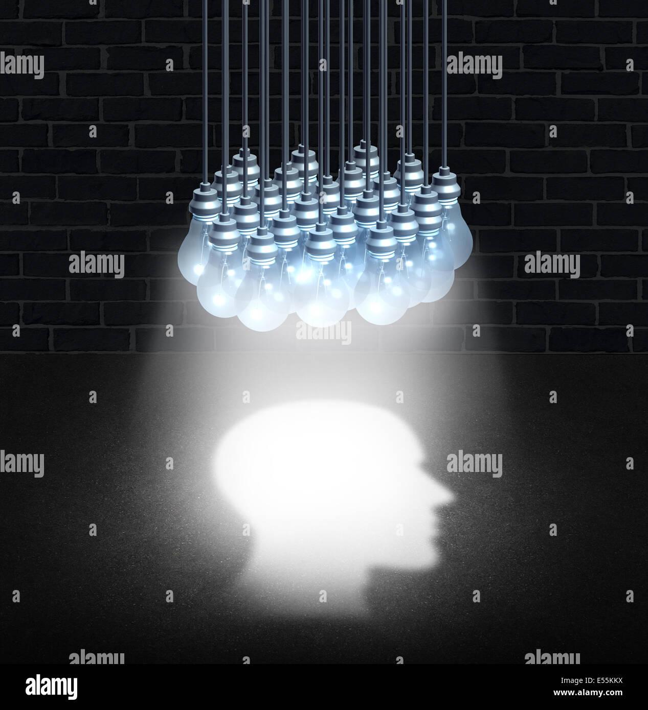 Il pensiero di gruppo e di lavoro di squadra il concetto di creatività come un mazzetto di lampadine lavorando Immagini Stock