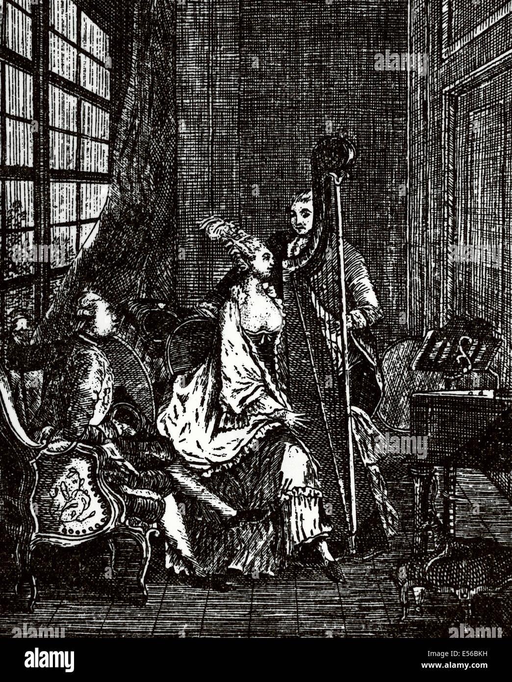La società. Il XVIII secolo. Musicista. Arpista. Incisione. Immagini Stock