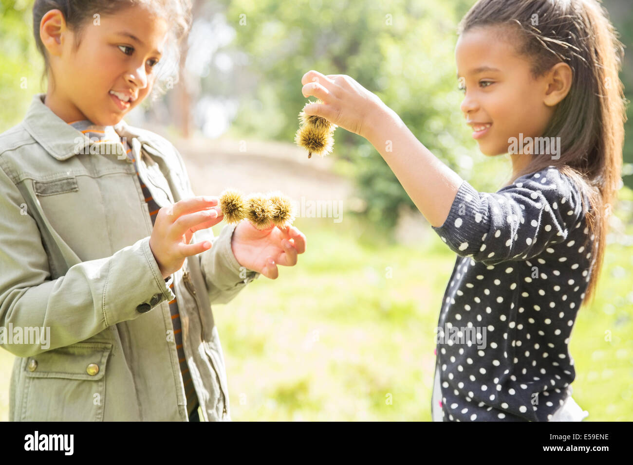 Bambini esaminando piante all'aperto Immagini Stock