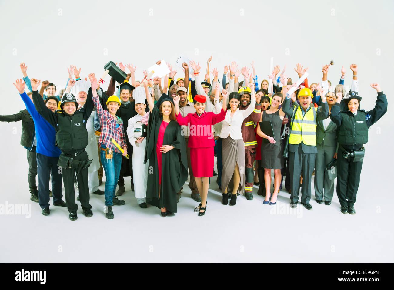 Ritratto di diverse tifo folla Immagini Stock