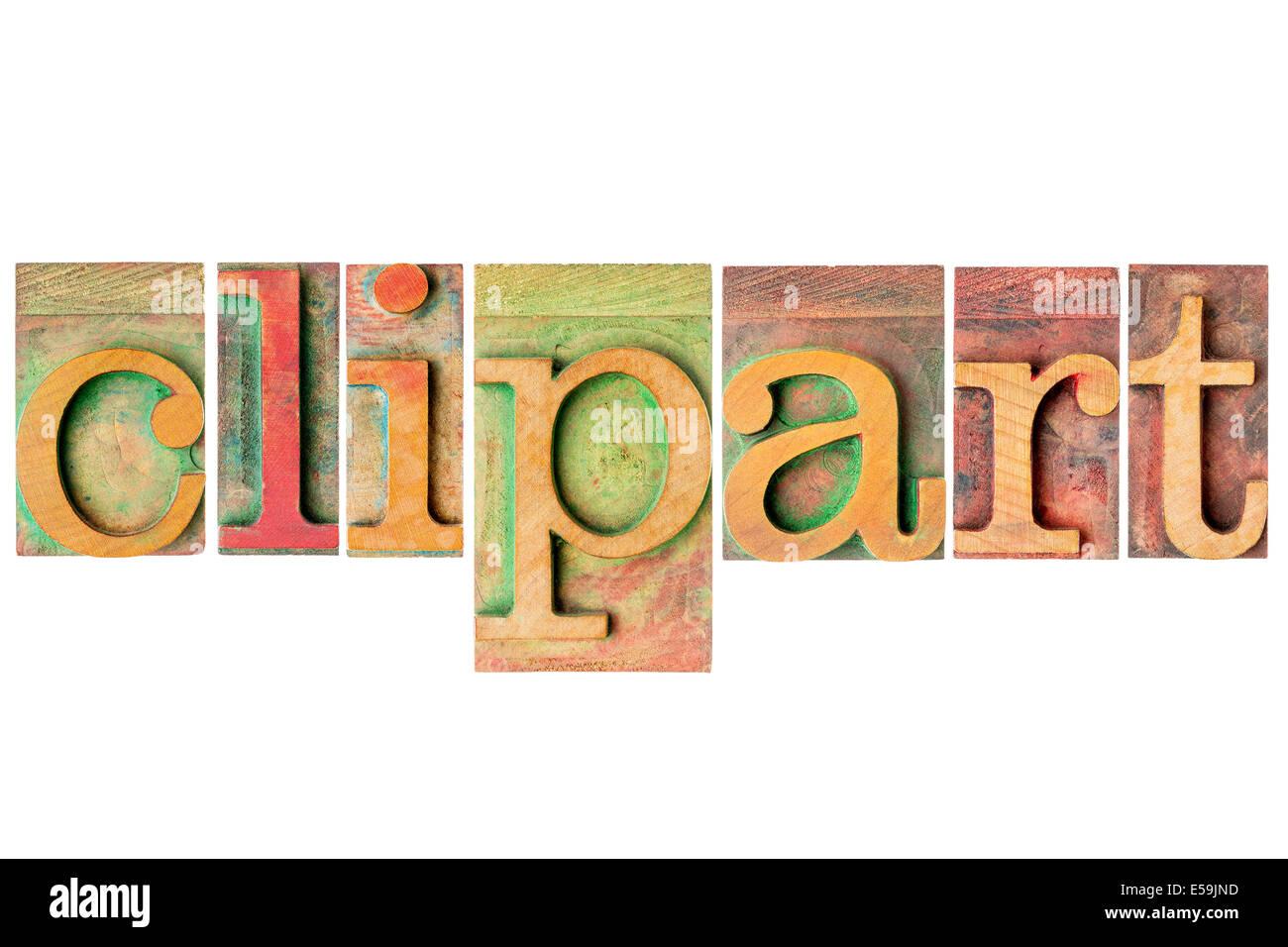 Clipart word - un collage di isolato in rilievo tipo legno blocchi di stampa Immagini Stock