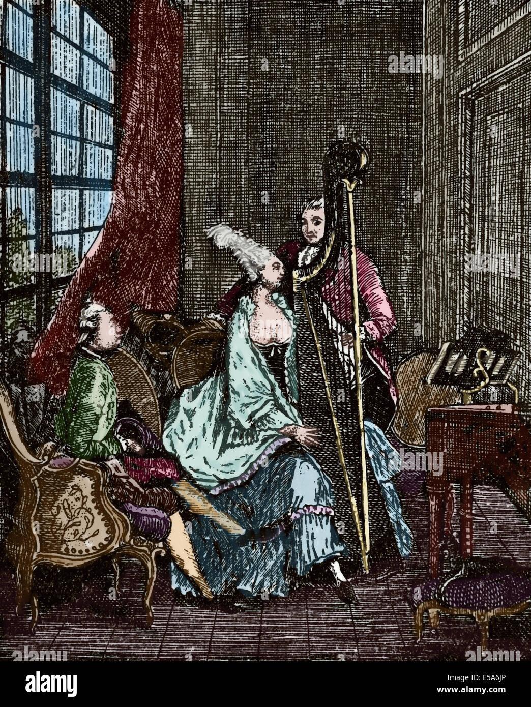 La società. Il XVIII secolo. Musicista. Arpista. Incisione. Colorati. Immagini Stock
