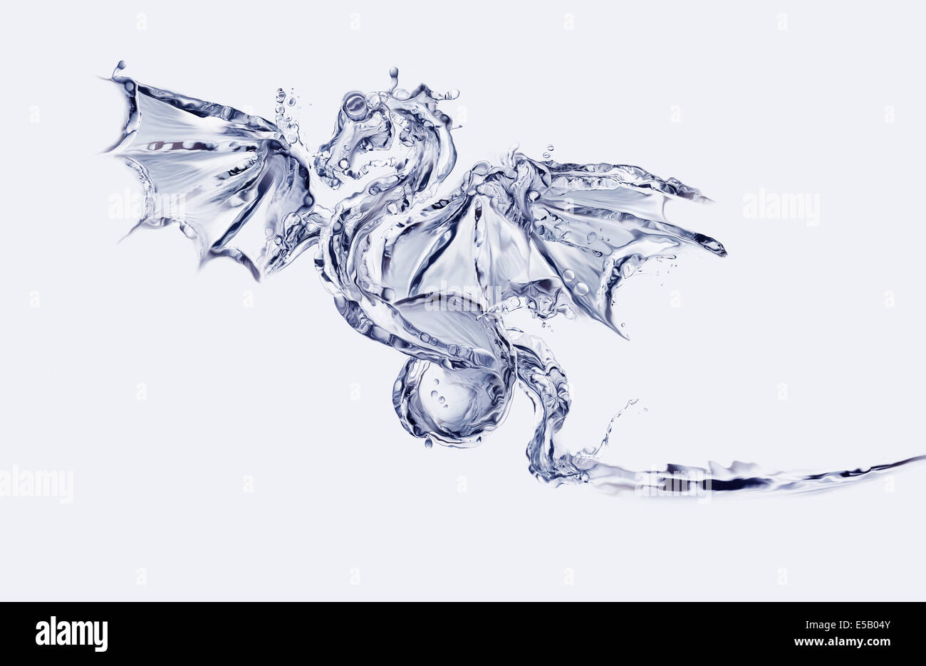 Un Flying Blue Dragon fatto di acqua. Immagini Stock