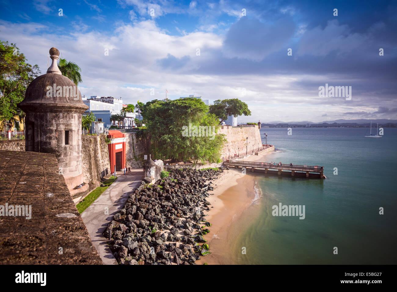 San Juan, Puerto Rico costa. Immagini Stock