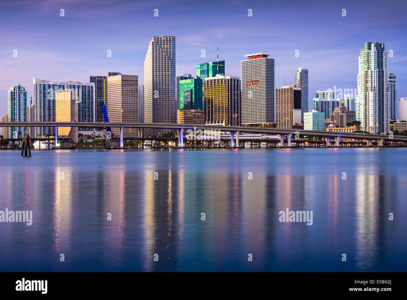 Miami, Florida, Stati Uniti d'America skyline del centro. Immagini Stock