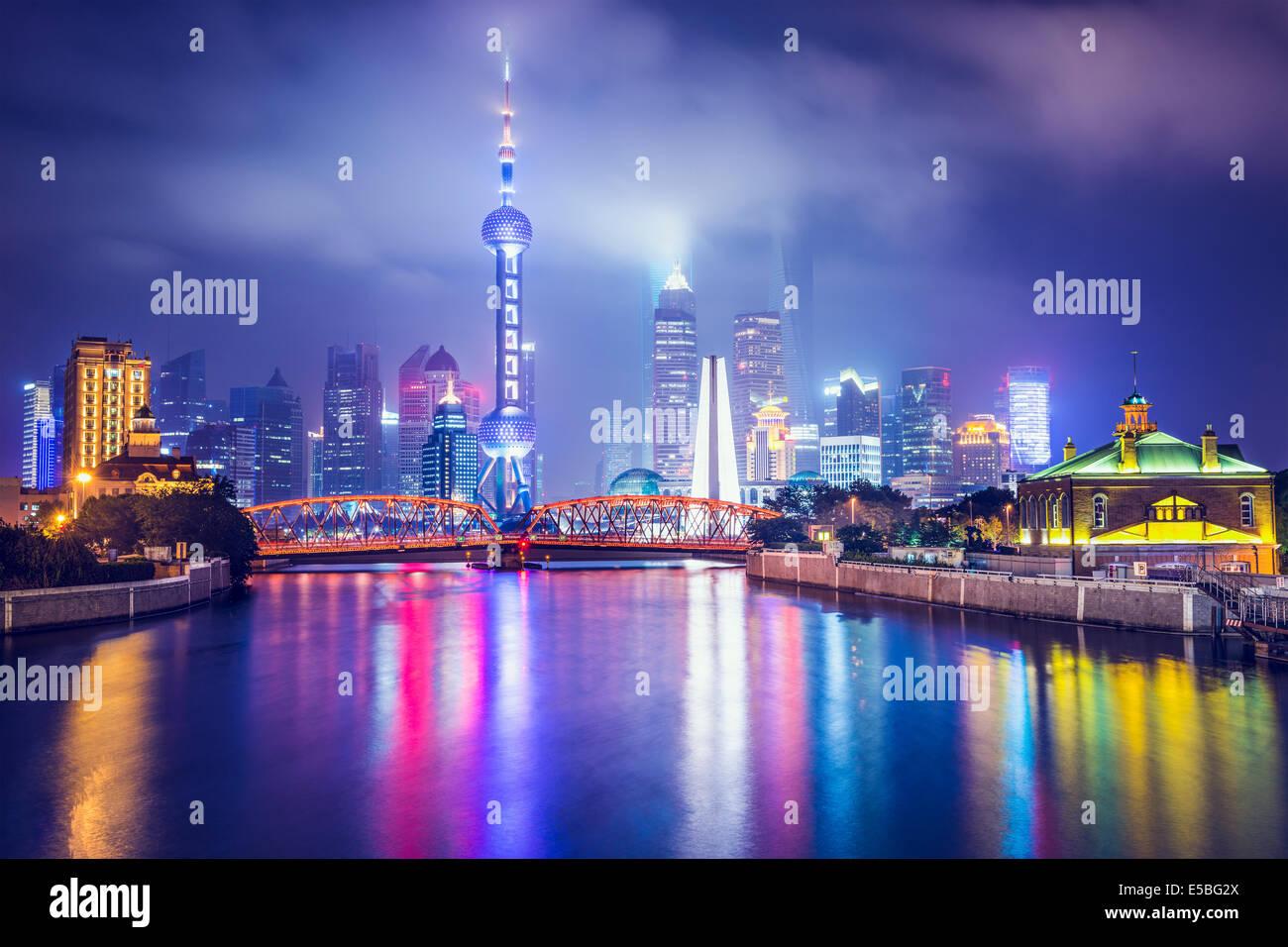 Shanghai, Cina vista del quartiere finanziario. Immagini Stock
