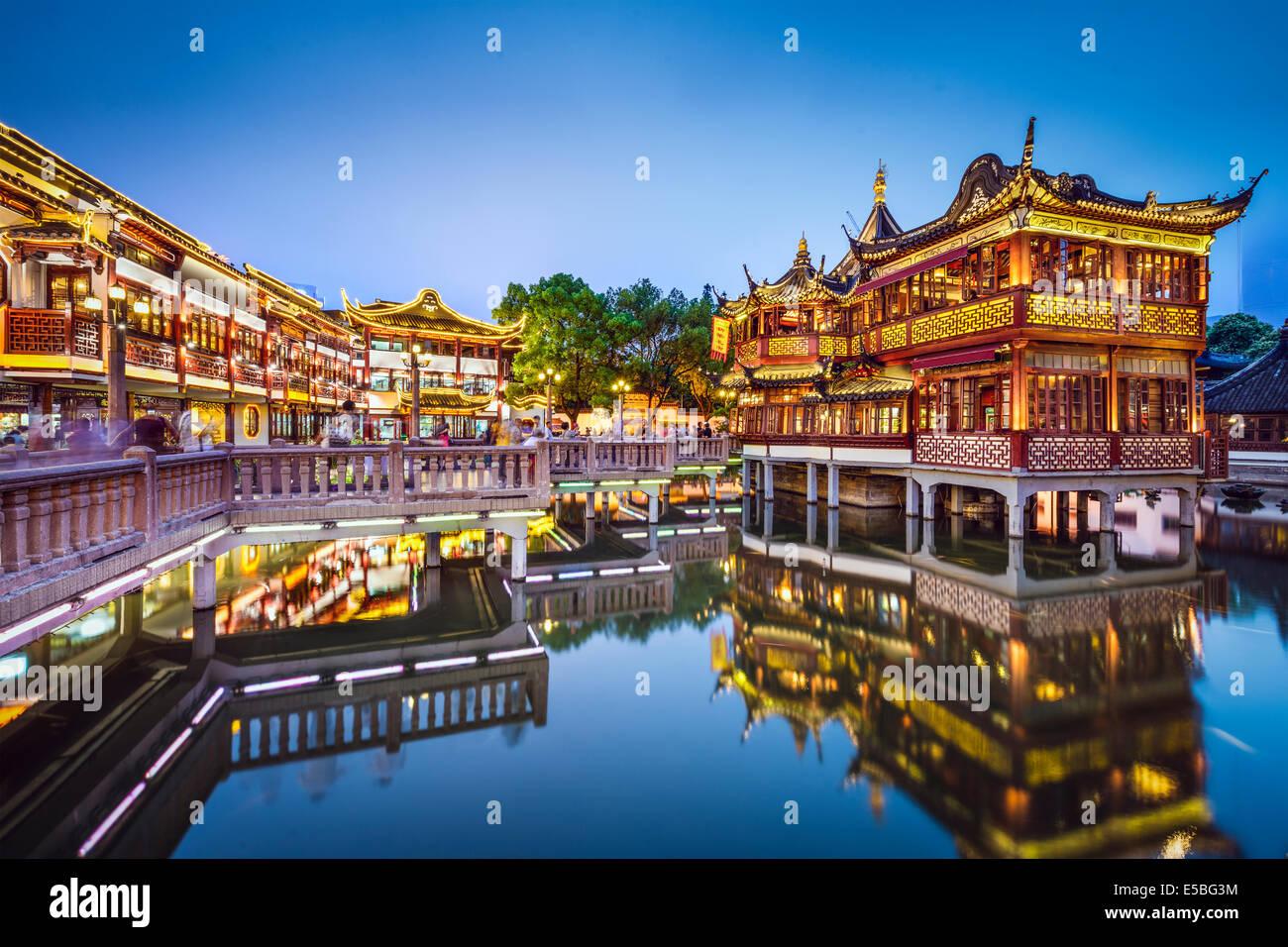 Shanghai, Cina all' Yuyuan Gardens. Immagini Stock