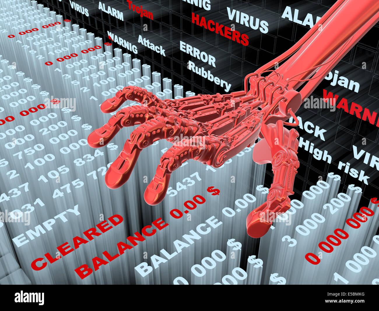 Hacking informazioni bancarie. Furto di denaro dal conto. Conceptual 3d illustrazione Immagini Stock