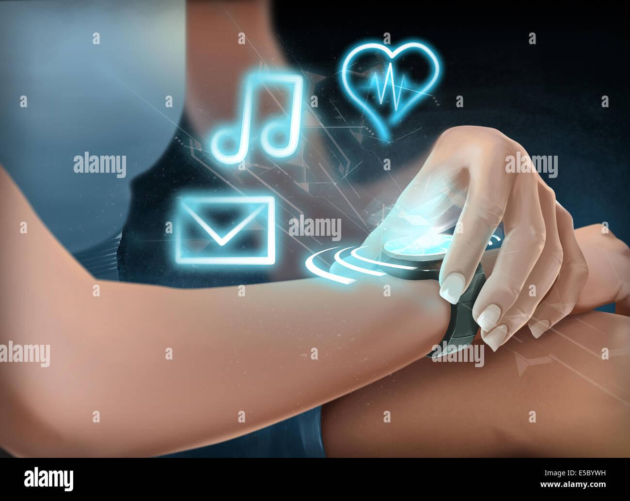 Illustrazione della donna che indossa il futuristico orologio da polso Immagini Stock