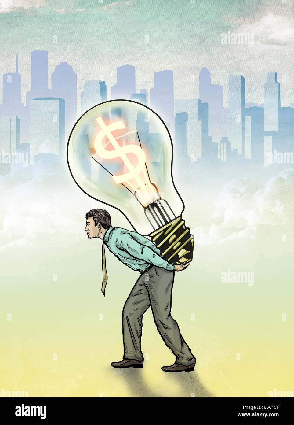 Immagine illustrativa di imprenditore che porta lampadina con simbolo del dollaro che rappresenta il profitto Immagini Stock