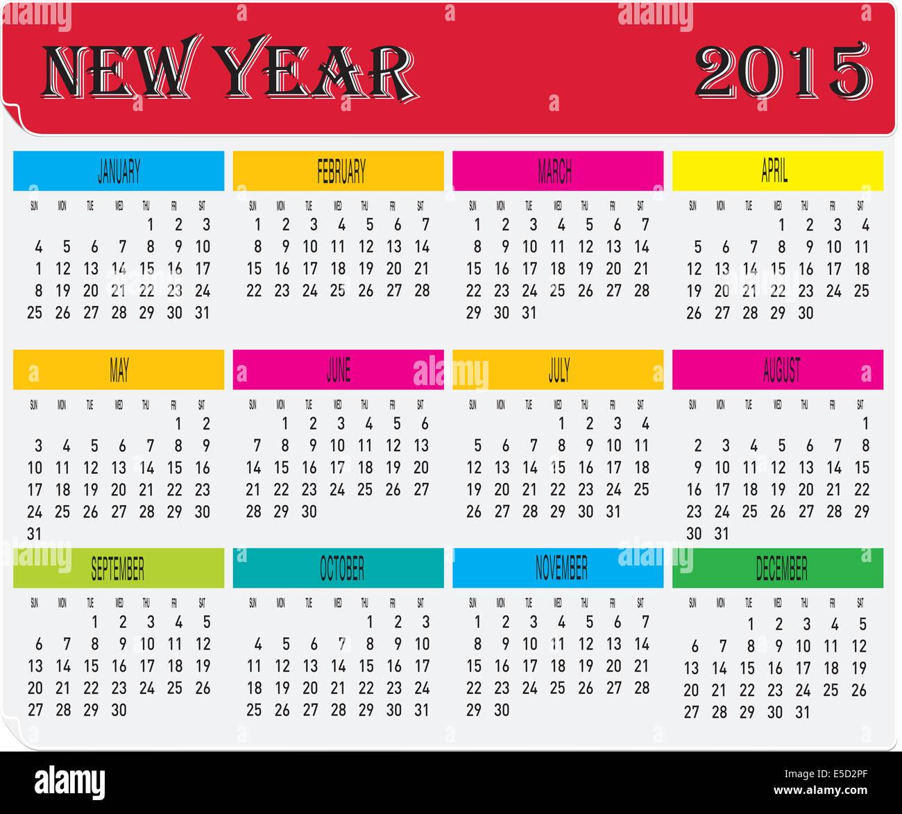 Calendario Anno 2015.Anno 2015 Mensile Calendario Colorate Foto Immagine Stock