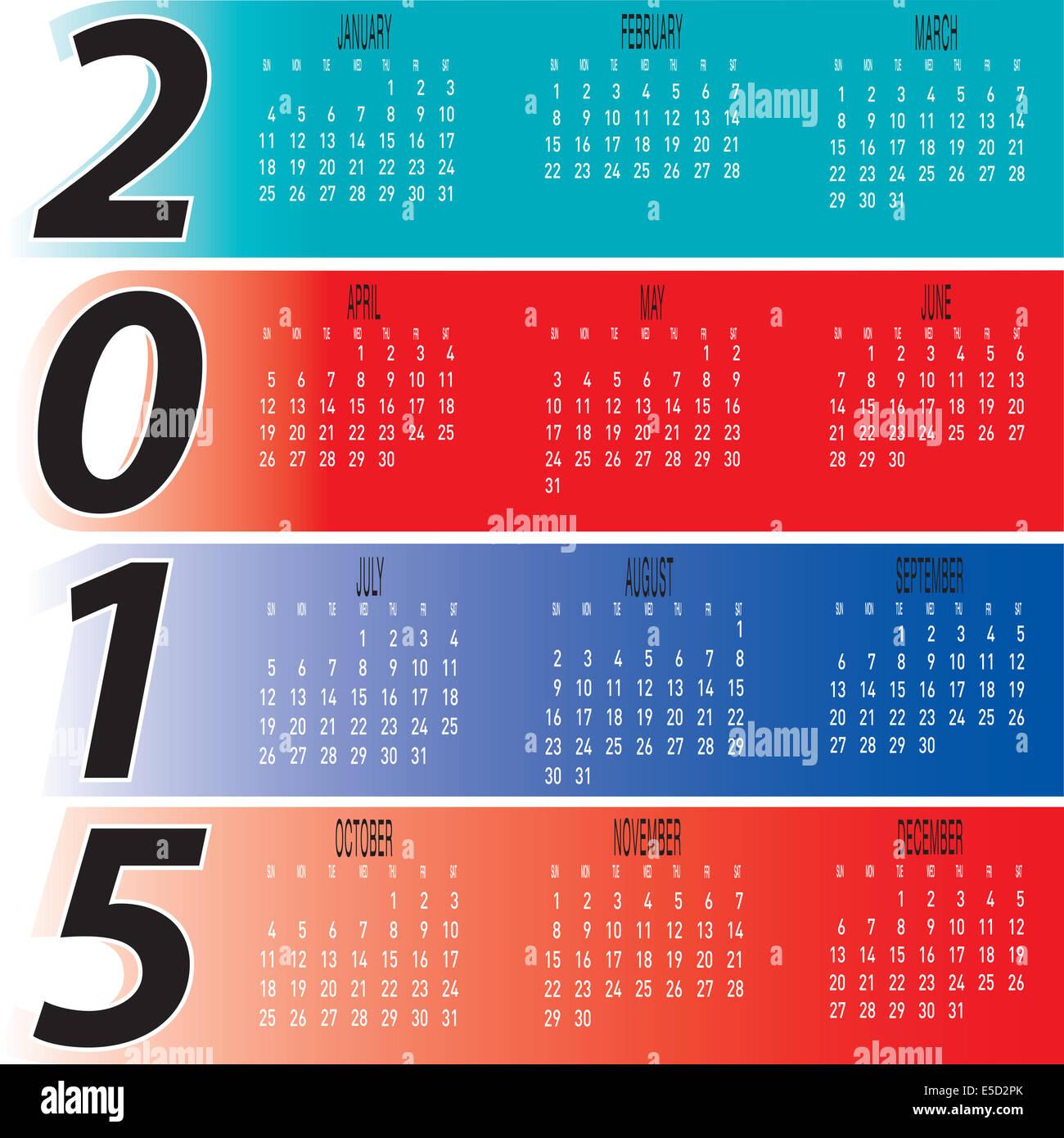 Calendario Anno 2015 Mensile.Ogni Giorno Colorate Mensili 2015 Vettore Del Calendario