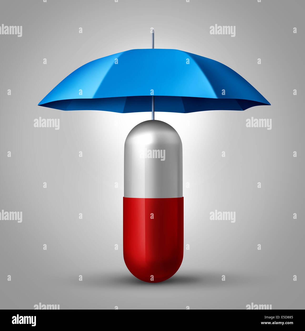Protezione della medicina e del farmaco il concetto di sicurezza come una cura di salute simbolo con una capsula Immagini Stock