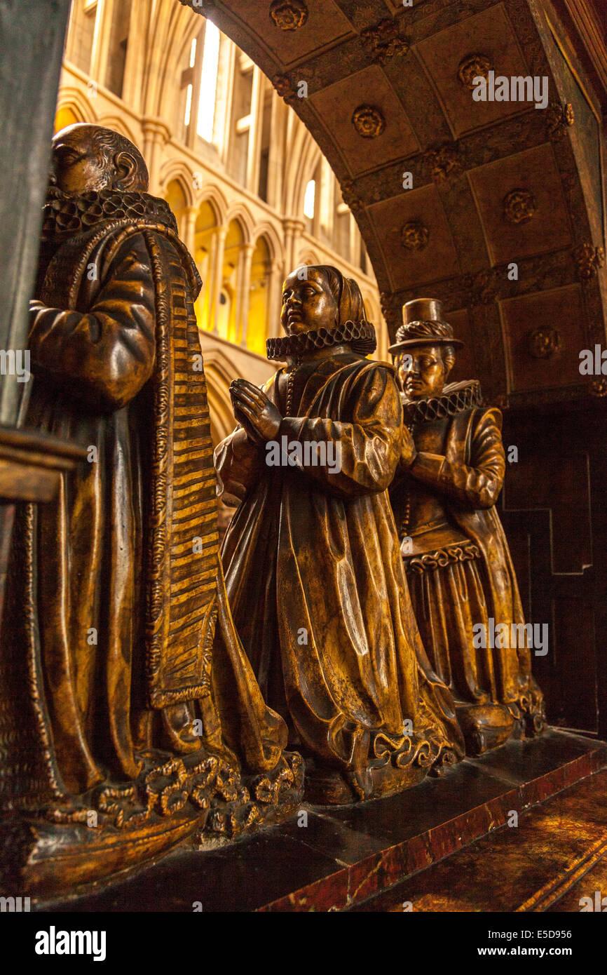 L umile monumento raffigura Assessore Richard umile e le sue due mogli, Elizabeth e Isabel. Cattedrale di Southwark, Immagini Stock