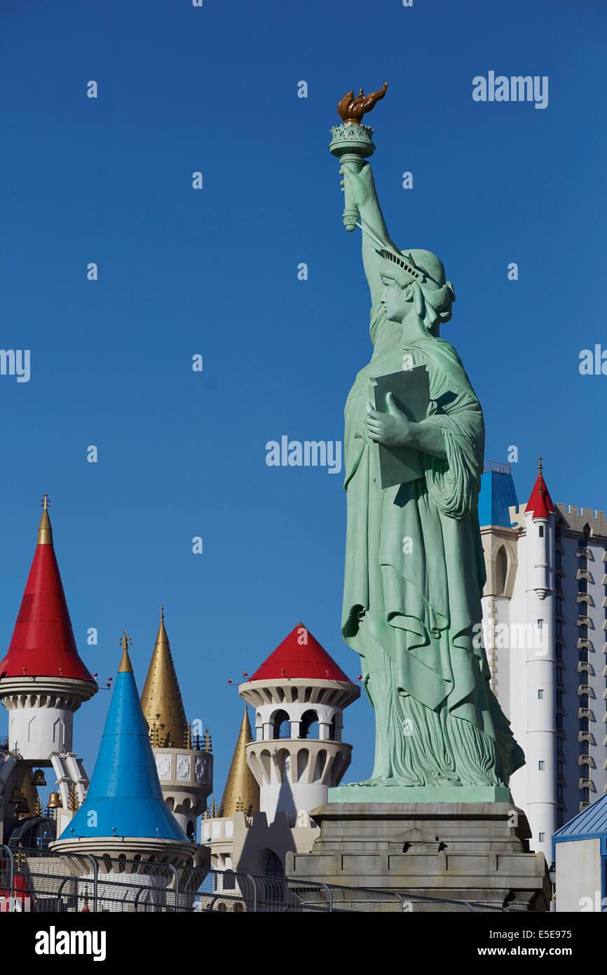 Statua di stile liberty, New York-New York Hotel & Casinò si trova sul Las Vegas Strip di Las Vegas Boulevard Immagini Stock