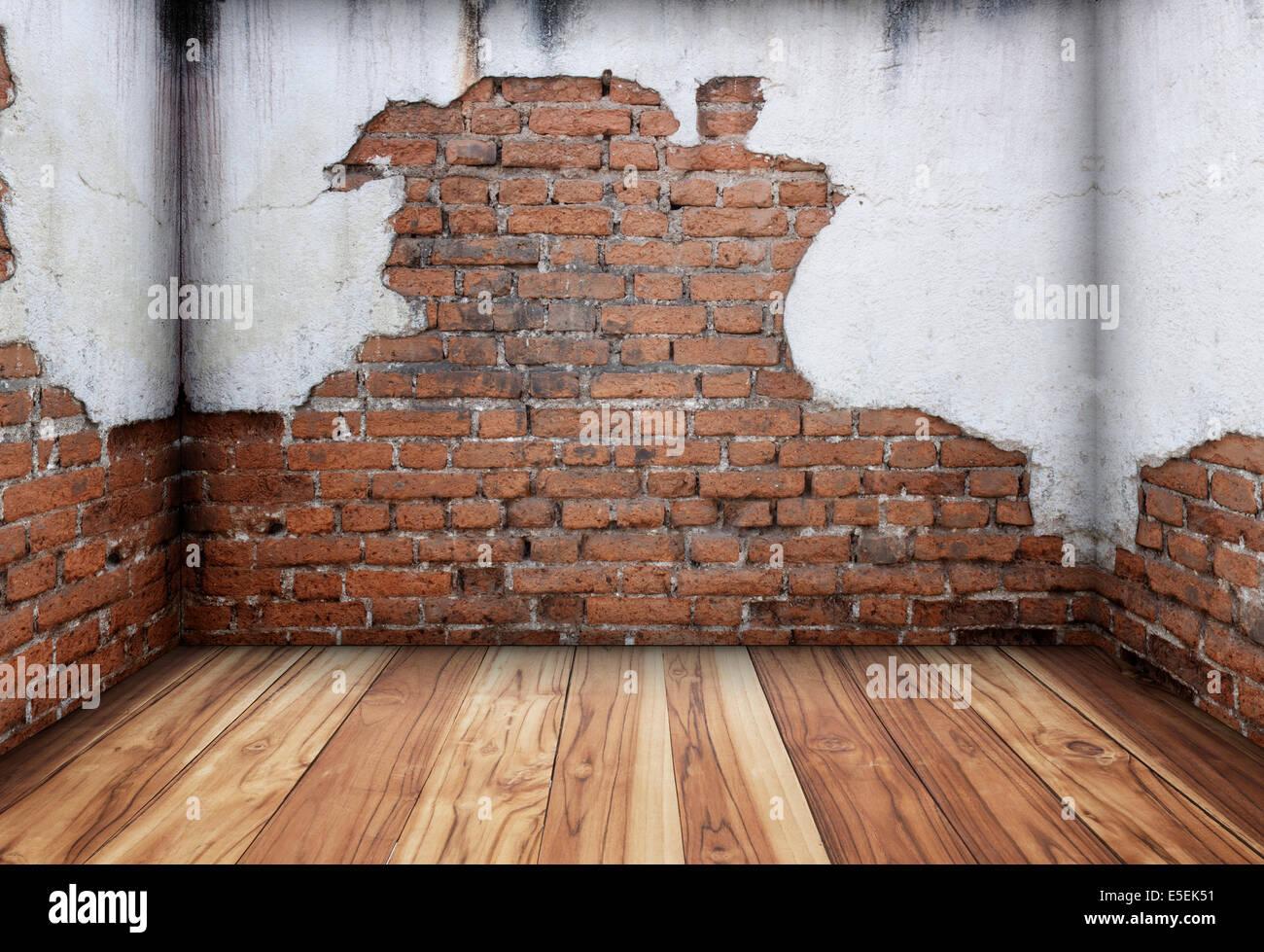 Vecchio interno con un muro di mattoni texture di sfondo foto