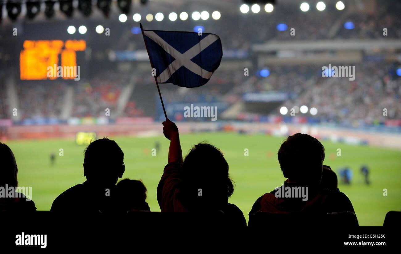 Bandiera SCOZZESE ATLETICA HAMPDEN PARK GLASGOW Scozia 31 Luglio 2014 Immagini Stock