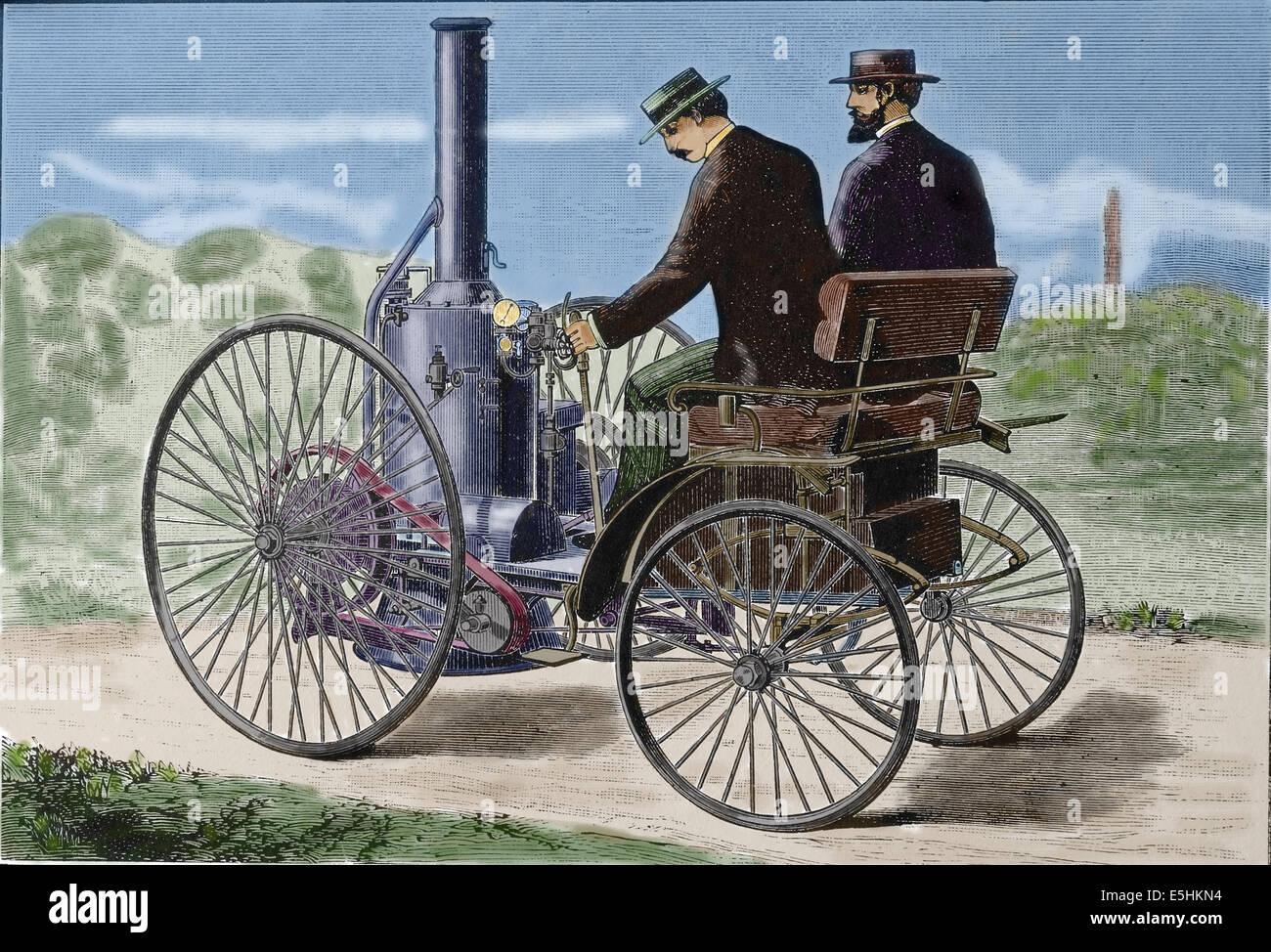 La storia. Il trasporto. Vecchio veicolo. Automobile a vapore. Incisione del XIX secolo. Colorazione successiva. Immagini Stock